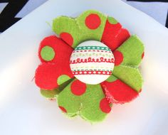 Small Red and Green Fabric Flower Hair Clip  by PoppyandPippa,