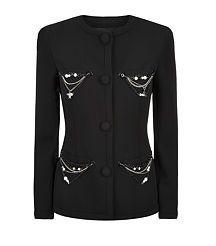Chain Embellished Wool Jacket