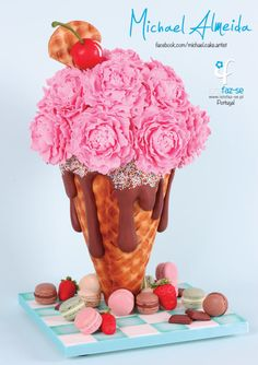 Mama's Boys Collaboration: Ice Cream Cone Peonies - Cake by Michael Almeida Pretty Cakes, Beautiful Cakes, Amazing Cakes, Gravity Defying Cake, Gravity Cake, Peony Cake, Flower Cakes, Portugal, Ice Cream Candy