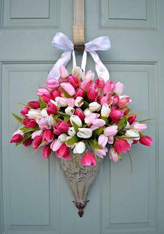 Spring Tulips-Wreath- Front Door Decor- Container- Farmhouse- Hanging Basket- Floral Arrangement-Easter home floral arrangements Spring Tulips-Wreath- Front Door Decor- Container- Farmhouse- Hanging Basket- Floral Arrangement-Easter Front Door Decor, Wreaths For Front Door, Door Wreaths, Front Porch, Deco Floral, Motif Floral, Wreath Crafts, Diy Wreath, Wreath Ideas