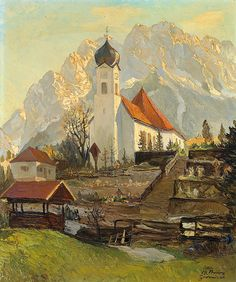 Church before Towering Massif by Heinz Theis, 1894