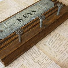 vintage railroad nails | Key Holder from Vintage Molding with Railroad Tie Nails