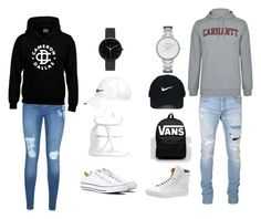 """Untitled #13"" by andrea-chaleen on Polyvore featuring Converse, Boohoo, NIKE, I Love Ugly, Balmain, Carhartt, BUSCEMI, Vans, Nike Golf and Skagen"