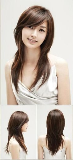 Long Layered Haircut With Bangs for Asian Girls