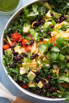 Kale Taco Salad from www. ( Gaby Cooking) Kale Taco Salad from www. Taco Salad Recipes, Healthy Salad Recipes, Vegetarian Recipes, Cooking Recipes, Cooking Kale, Taco Salads, Healthy Meals, Healthy Food, Detox Recipes