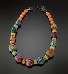 Tumbling Beaded Beads Necklace by Julie Powell: Beaded Necklace available at www.artfulhome.com