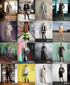 Stuff about the Myers-Briggs types Fashion styles for the 16 types.  I'm an ENFJ.