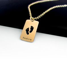 Personalized Mom Necklace, Custom Name Necklace, Mommy Necklace with Engraved Baby Name, Baby Feet Necklace. on Etsy, 147.44₪