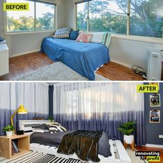 Sometimes the most challenging rooms give you your brightest ideas! If you missed my sunroom to bedroom transformation for 7 year-old Oscar, check out all the before and after shots and project details here: https://renovatingforprofit.com.au/footy-inspired-boys-bed…/ Let me know what you think below! C x #leuvia #leuviahome #leuvialinen #linencurtains #renoforprofit #taubmans #interiordesign #paint #colour #whiteknightpaint #renovation #diy #painting