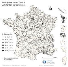 Municipales 2014 : carte de l'abstention au 2nd tour
