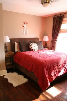 serene brown and red bedroom - I LOVE how simple this is!  Of course i wouldn't have that thing on the wall above the bed, I would put one of those stick on vinyl wall saying things instead. Or a painting of a horse scene or something.
