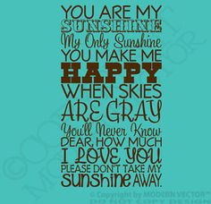 YOU ARE MY SUNSHINE Quote Vinyl Wall Decal Letters Nursery Bedroom Subway Style