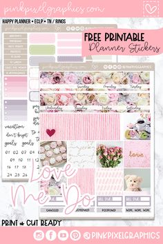 Free Monthly Planner Stickers : Love Me Do Free Monthly Kit planner sticker to fit any planner. Sign up for your free password today. Find more at www.pinkpixelgraphics.com