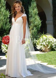 $111.49Chapel Train Chiffon Draped #Empire Waist #V-neck Cap Sleeves Bridal Dress