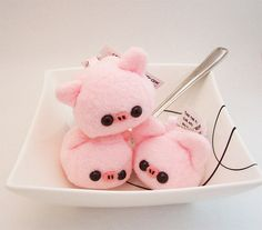 Baby Pork Pig Cube Plushie Keychain kawaii stuffed toy bag charm in soft pink fleece. $12.50, via Etsy.