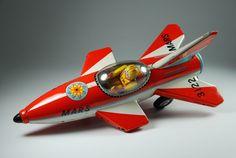 Masudaya Mars Rocket Battery Op toy from Mars Rocket, Toy Rocket, Rocket Ships, Vintage Robots, Vintage Toys, Space Toys, Classic Sci Fi, Tin Toys, Retro Toys