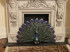 Sylvia Carson's Peacock Fire Screen 1:12 scale Signed and Dated 2004