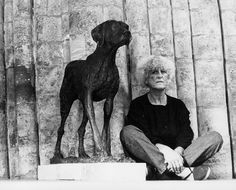 Elisabeth Frink with Dog Sculpture