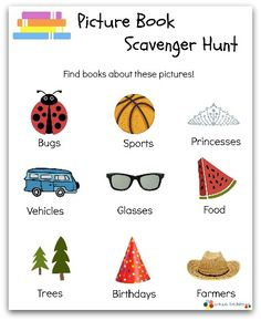 Want to explore your local library in honor of National Library Week? Print out this free picture book scavenger hunt printable and find some new books!
