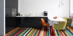 Multi Coloured Stripes Vinyl Flooring, Multi Coloured Stripes Mural Flooring