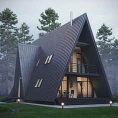 Adorable 32 Extraordinary Frame Cabins Design Ideas That You Can Dreaming A Frame House Plans, A Frame Cabin, Tiny House Cabin, Cabin Homes, Cabin Design, Tiny House Design, House Of Philia, Triangle House, Dream House Exterior