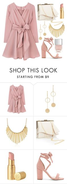 """Glistening Grad"" by amadea-wilhite ❤ liked on Polyvore featuring Cloverpost, WithChic, Coast, Too Faced Cosmetics, Raye and Nails Inc."