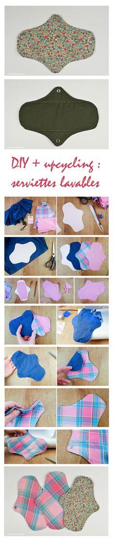 #Tutoriel #diy #serviettes #hygiéniques #lavables à partir de #chutes de #textile : #vêtement #teeshirt et de #toile de #parapluie #couture #facile #zerodechet #zerowaste