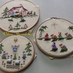 Christmas Nativity Scene, Felt Christmas, Tis The Season, Needlepoint, Cross Stitch Patterns, Decorative Plates, Christmas Decorations, Embroidery, Tableware