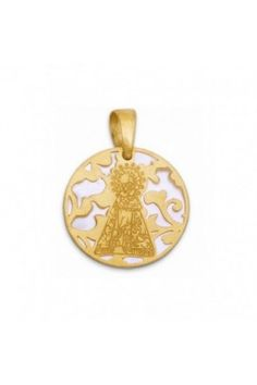 Medalla Virgen de los Desamparados nacar y plata chapada en Oro 22mm