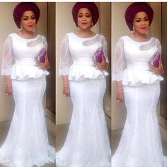 Yes, we are super back with stylish and trendy Aso-Ebi style looks!We are kick-starting the year with over 100 amazing designs you can rock to 2017 weddings. When it comes to looking good and turning heads on the wedding red-carpet, trust us, we have got African Lace Styles, African Lace Dresses, Latest African Fashion Dresses, African Print Fashion, Africa Fashion, African Prints, African Style, Lace Skirt And Blouse, Nigerian Dress