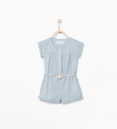 Striped jumpsuit with cord belt detail.-Dresses-Baby girl (3 months - 3 years)-KIDS | ZARA United States