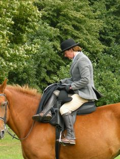 Riding sidesaddle. I think this would be a very comfortable way to ride and I'd very much like to try