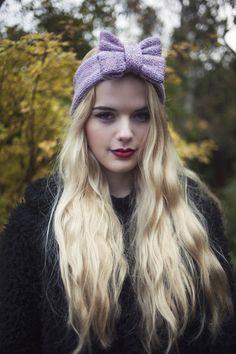 Knitted Bow Headband, Knitted Headband, Cute and Cosy Ear Warmer in La – Beauxoxo- Handmade, Hair Accessories