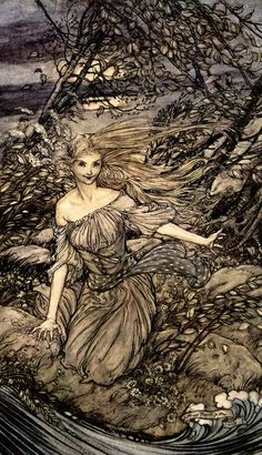 'He saw by the moonlight momentarily unveiled, a little island encircled by the flood; and there under the branches of the overhanging trees was Undine' - by de la Motte Fouqué, 1909