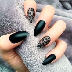 Black Matte Nails Ideas 10