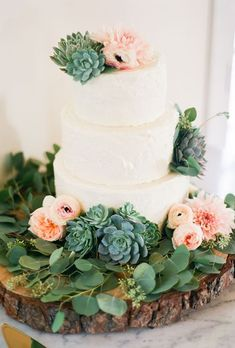he Prettiest Floral Wedding Cakes. Three-tiered wedding cake with ranunculus, anemones, and succulents, The Butter End. See more bohemian wedding cakes. Succulent Wedding Cakes, Floral Wedding Cakes, Wedding Cakes With Flowers, Cake Flowers, Floral Cake, Bohemian Wedding Cakes, Fresh Flowers, Spring Wedding Cakes, Succulent Cakes