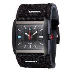 648af0e2d6c0 Reloj analogico QUIKSILVER con correa de piel forrada por tela en color  negra www.relojesplatayacero.com