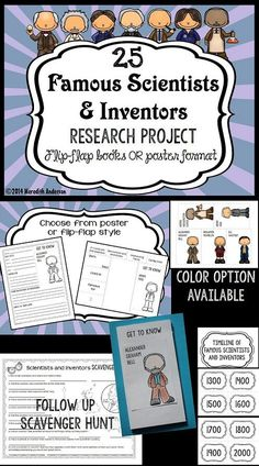 Famous Scientists and Inventors Research Project - Flip-flap or poster option… Science Classroom, Teaching Science, Classroom Resources, Science Lessons, Science Experiments, Science Fair, Famous Scientists For Kids, Fourth Grade Science, Interactive Journals