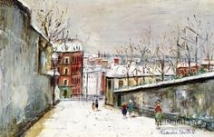 Maurice Utrillo Rue Du Mont-cenis In The Snow oil painting reproductions for sale