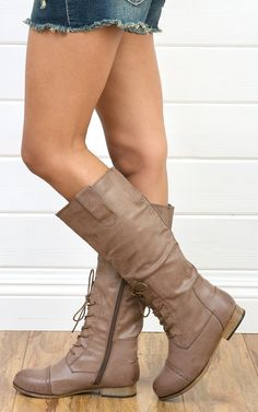 Tosca46 Lace Up Flat Riding Boots TAUPE
