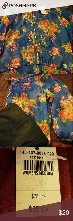 Floral off shoulder blouse with Sheer, blue with pink flowers Abercrombie & Fitch Tops Blouses