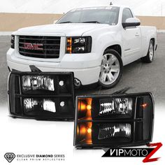 Clear Reflector Series 2007 2017 Gmc Sierra Black Front Headlights Left Right