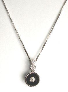 14k white gold chain and diamond drop pendant with blackened half ball. DVVS Fine Jewelry #diamond #pendant