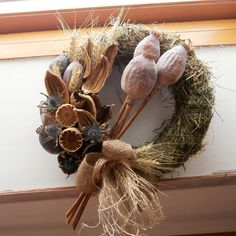 Dried Flower Bouquet, Dried Flowers, Fall Decor, Holiday Decor, Seed Pods, Diy Projects To Try, Grapevine Wreath, Christmas Wreaths, Handmade