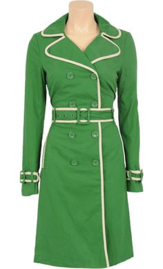Vintage inspired summer trench coat in green - King Louie SS2014