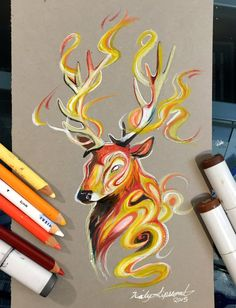 268- Stag Fire Spirit by Lucky978 on DeviantArt
