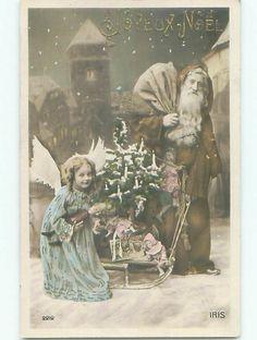 1909 tinted rppc FOREIGN CHRISTMAS - LONG ROBE SANTA WITH ANGEL & SLED o2749 #Christmas