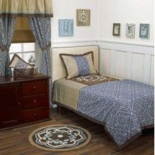 This Cocalo Corlu Two-piece Twin-size Bedding Set features a lovely Corlu pattern offset by subtle stripes in attractive blue, brown and white. The machine washable set has a cotton exterior and includes two shams. Kids Comforter Sets, Bedding Sets, Twin Size Bed Sets, Linen Bedding, Bed Linen, Basement Remodeling, Home Kitchens, Comforters, Blanket