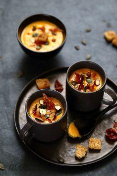 Soupe de courge butternut et pancetta croustillante