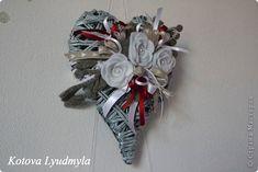 Corações artesanato master-class produto Ano Novo Aplicativo Weave tecidas a partir de tubos de papel Papel Fita Adesiva feltro Pintura 5 fotos
